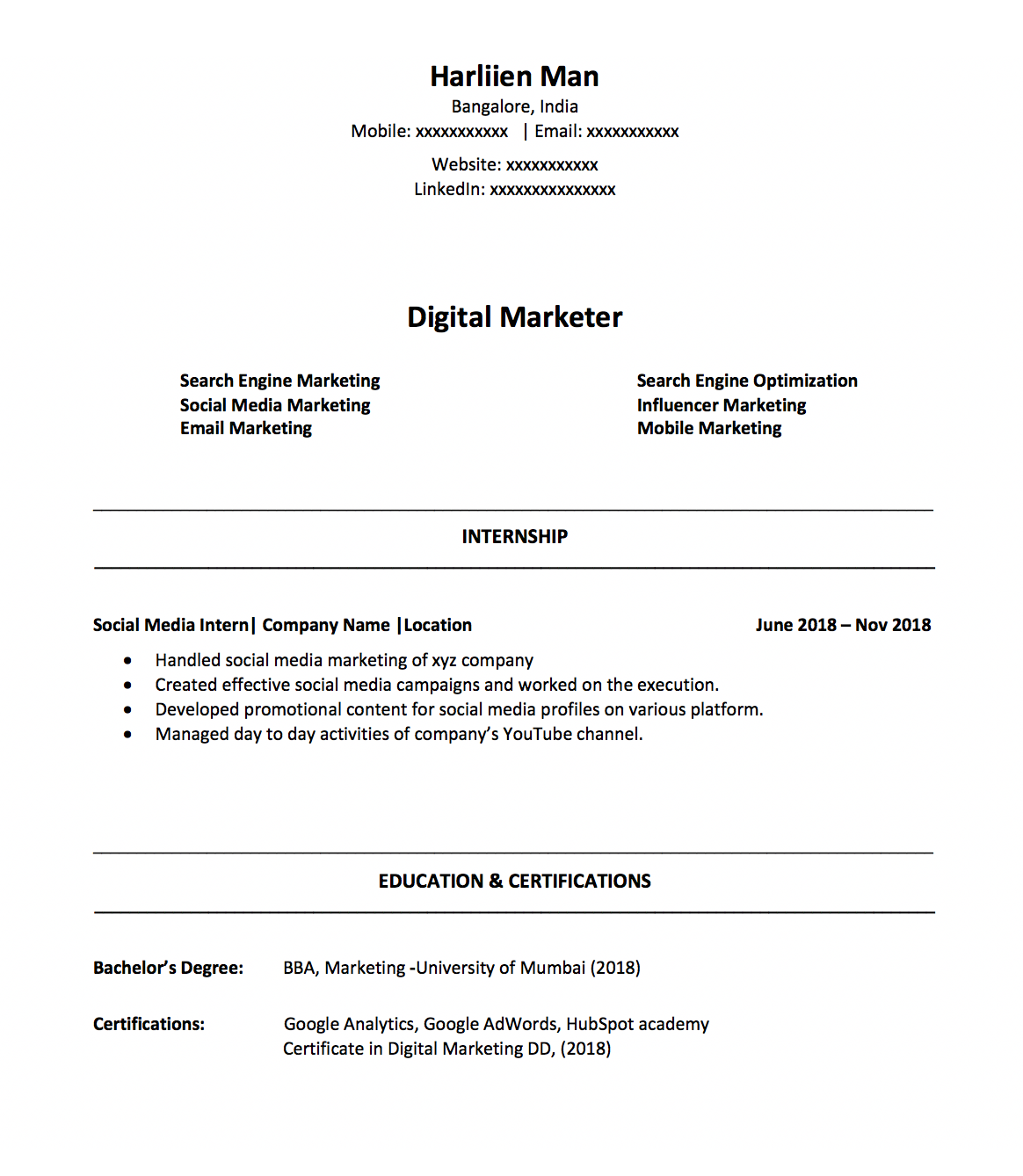 How To Make A Digital Marketing Resume As A Fresher In 2019